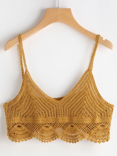 Hollow Out Crochet Scallop Hem Crop Cami Top