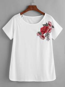 White Raglan Sleeve Applique T-shirt