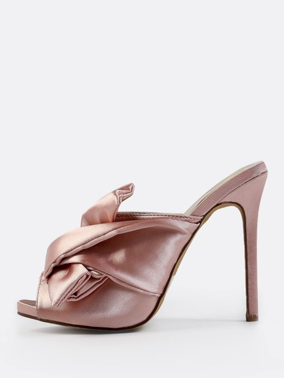 Satin Bow Slip On Heels DUSTY PINK