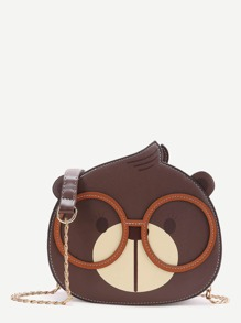 Brown Bear Shaped Crossbody Bag