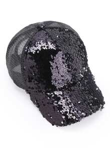 Sequin Detail Baseball Hat