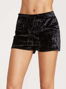Black Velvet Shorts coulisse in vita