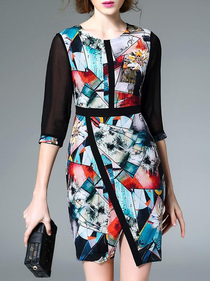 Фото Multicolor Crew Neck Print Asymmetric Dress. Купить с доставкой