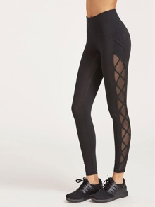 Wide Waistband Crisscross Mesh Panel Leggings