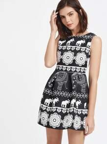 Vintage Print Embossed A-Line Dress