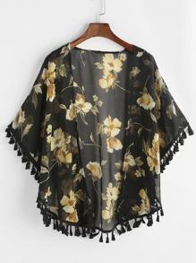 Allover Florals Print Fringe Hem Chiffon Kimono