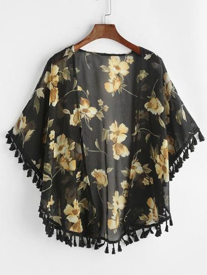 Allover Florals Print Fringe Hem Kimono