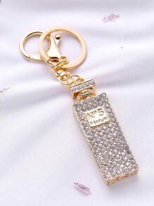 Porte-clé en forme de bouteille de parfum en strass en or