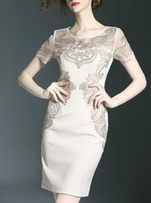 Beige Gauze Disc Flowers Sheath Dress