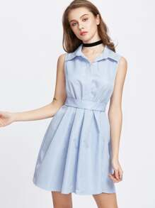 Blue Vertical Striped Bow Tie Back Shirt Dress