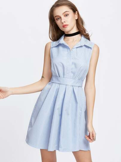 Lapel Button Bow Tie Back Shirt Dress
