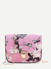 Pink Floral Print Chain Bag