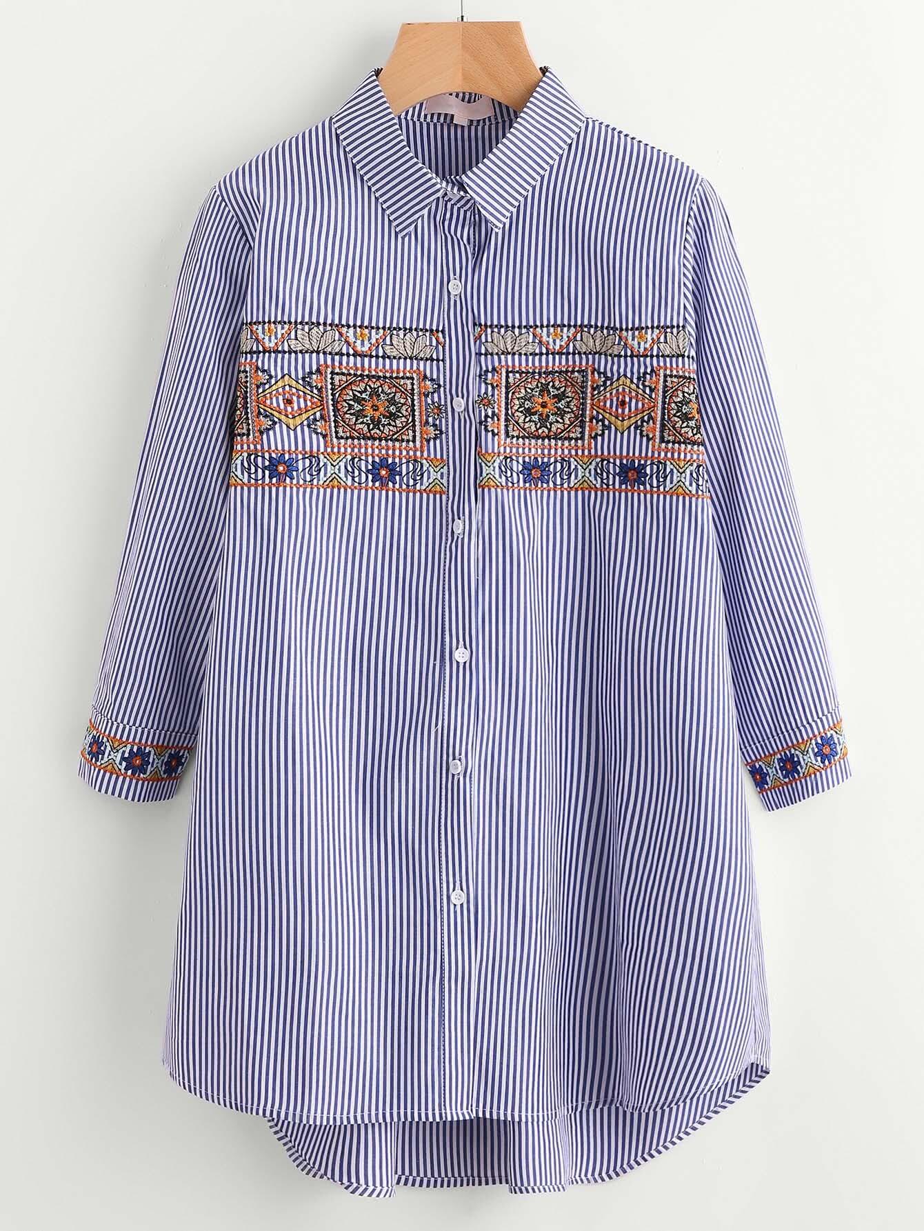 Фото Tribal Embroidery Single Breasted Blouse. Купить с доставкой