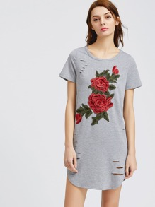 Heather Grey Embroidered Rose Applique Ripped Tee Dress