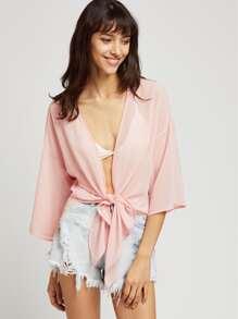 Tie Front Drop Shoulder Kimono