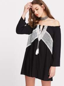 Contrast Lace Panel Tassel Tie Neck Bardot Dress