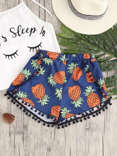 Shorts con estampado de piña con pompones