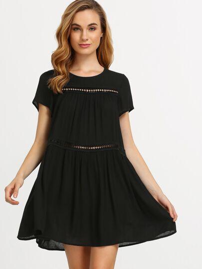 Negro vestido de manga corta de desplazamiento