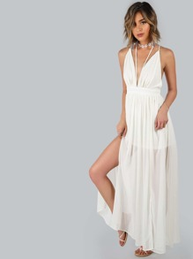 Plunging Chiffon Strappy Back Dress