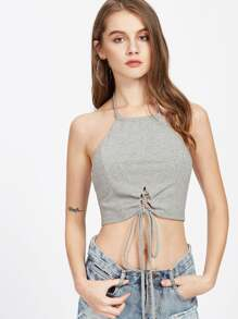 Heather Knit Lace Up Front Halter Top pictures