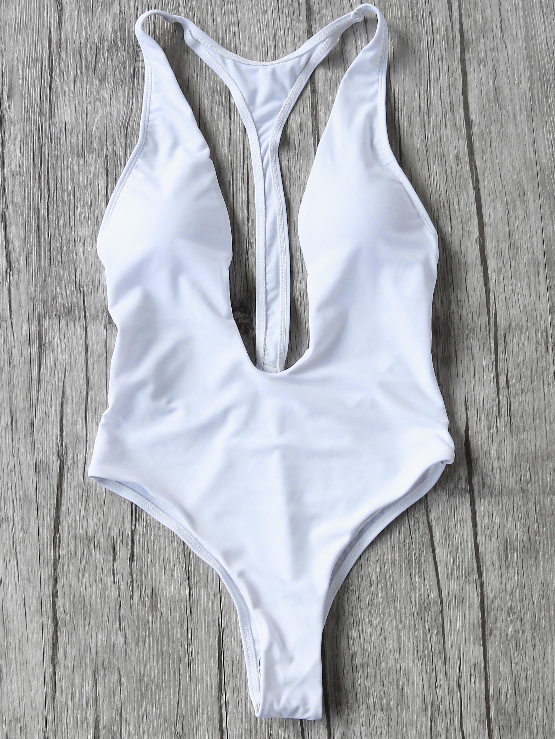 White Plunge Neck One-Piece Swimwear swimwear170306314