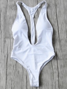 White Plunge Neck One-Piece Swimwear