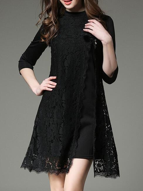 Фото Black Contrast Lace Split Dress. Купить с доставкой