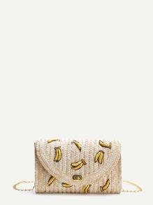 Beige Banana Straw Shoulder Bag With Chain