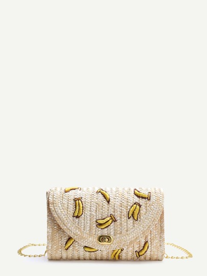 Beige Banana Straw Shoulder Bag With Chain
