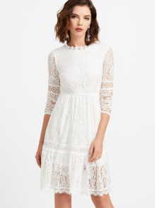 White Lace Overlay Keyhole Back Dress