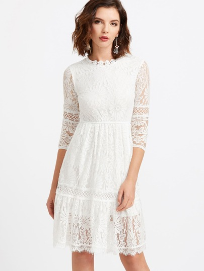 White Lace Overlay Keyhole Back Dress