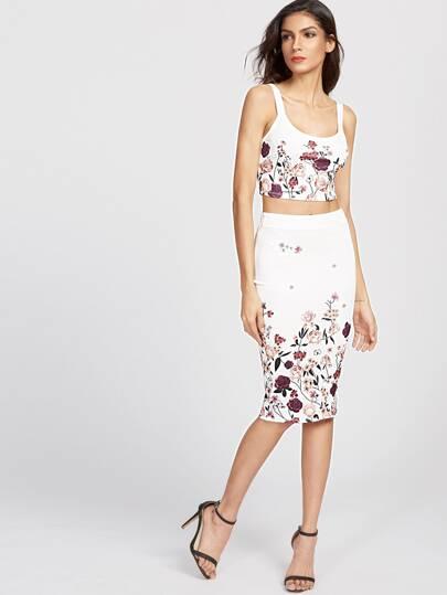 flower print crop tank top and pencil skirt set shein