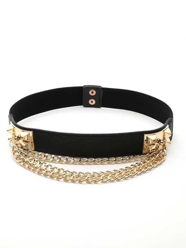 Layered Chain Detail Belt, null