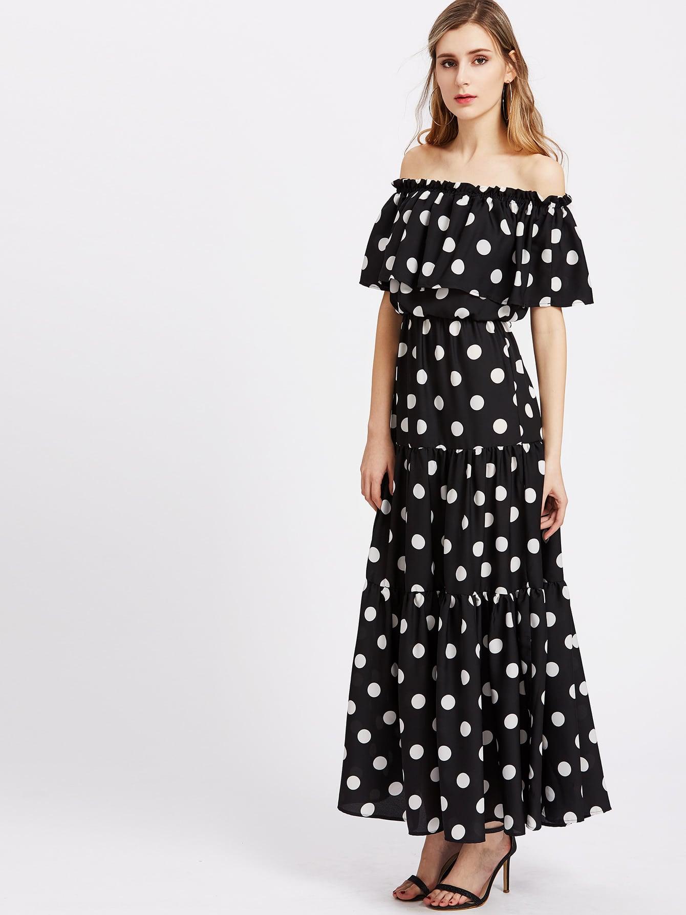 Фото Polka Dot Print Tiered Flounce Bardot Dress. Купить с доставкой