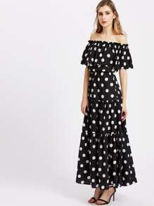 Polka Dot Print Tiered Flounce Bardot Dress