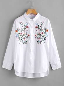 Sharp Collar Flower Embroidered Blouse