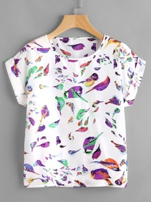 Birds Print T-shirt