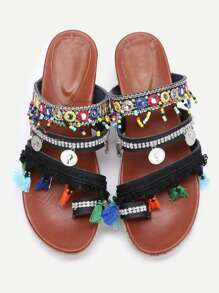 Black Open Toe Coin Fringe Trim Flatform Sandals
