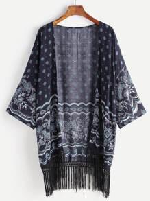 Kimono con estampado bajo con flecos - marino