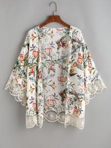 Tropical Print Crochet Lace Trim Kimono