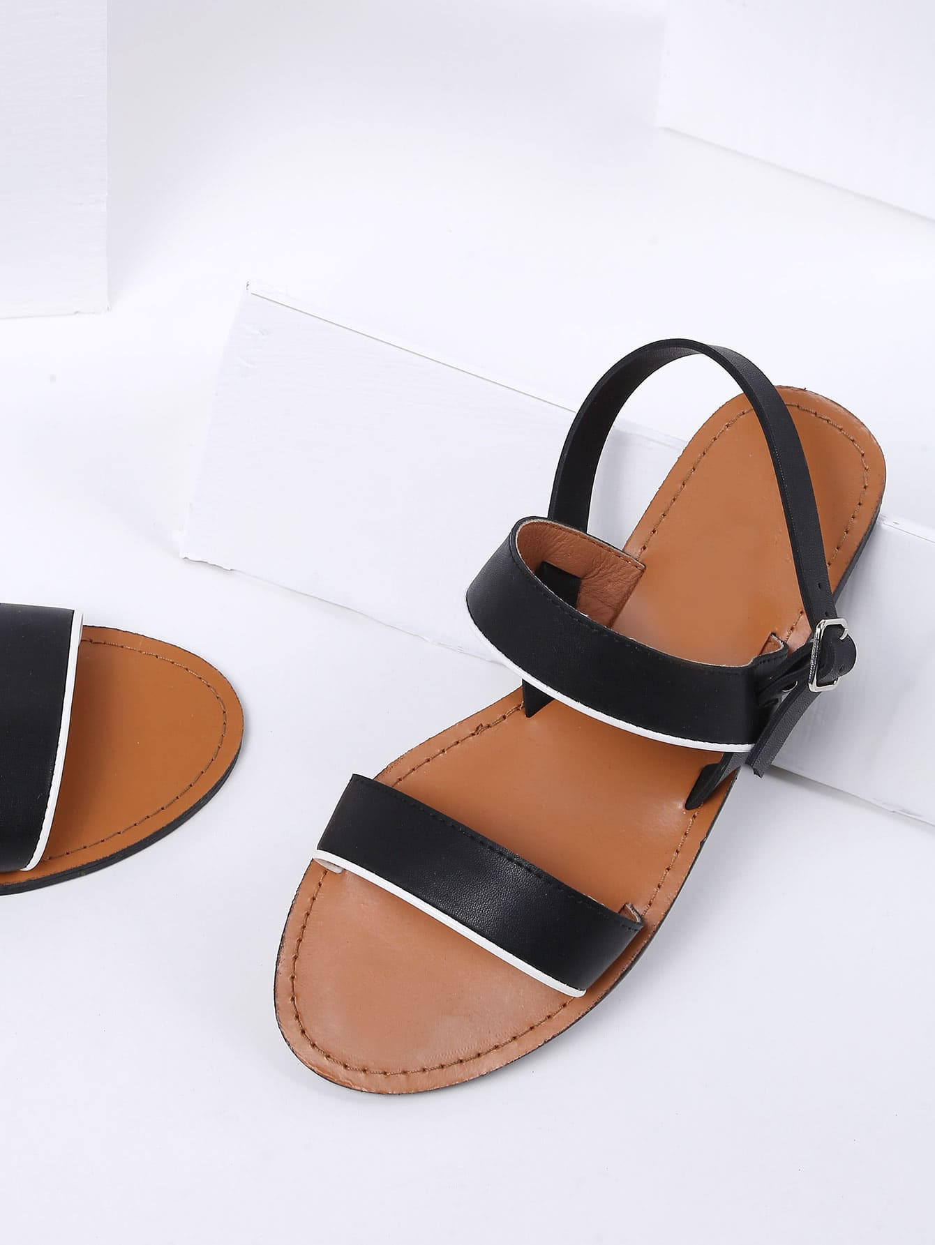 Image of Black Strappy Beach Style PU Sandals