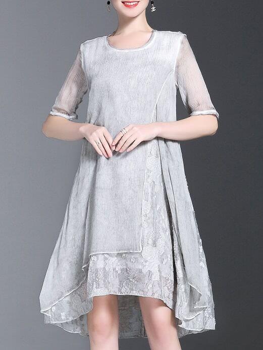 Фото Grey Crew Neck Split High Low Dress. Купить с доставкой