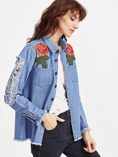 Rose Applique Patch Pocket Distressed Denim Shirt Jacket