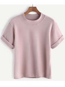 Pink Rolled Sleeve Casual T-shirt