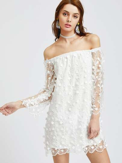 Bardot Botanical Applique Embroidered Overlay Dress