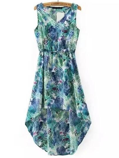 Vestido asimétrico sin mangas con estampado floral - verde