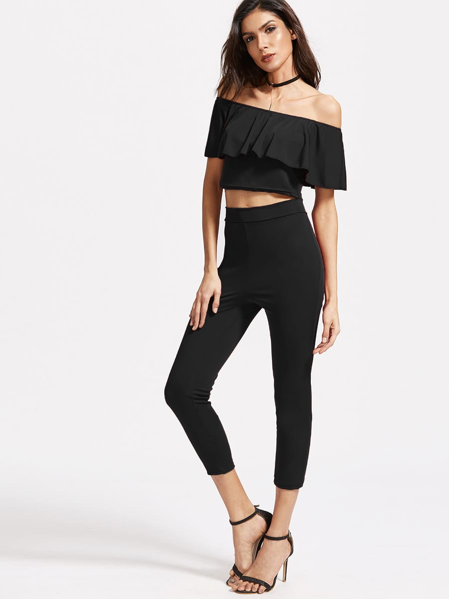 Off The Shoulder Ruffle Crop Top With Pants white off the shoulder ruffled details crop top