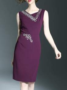 Purple V Neck Beading Sheath Dress