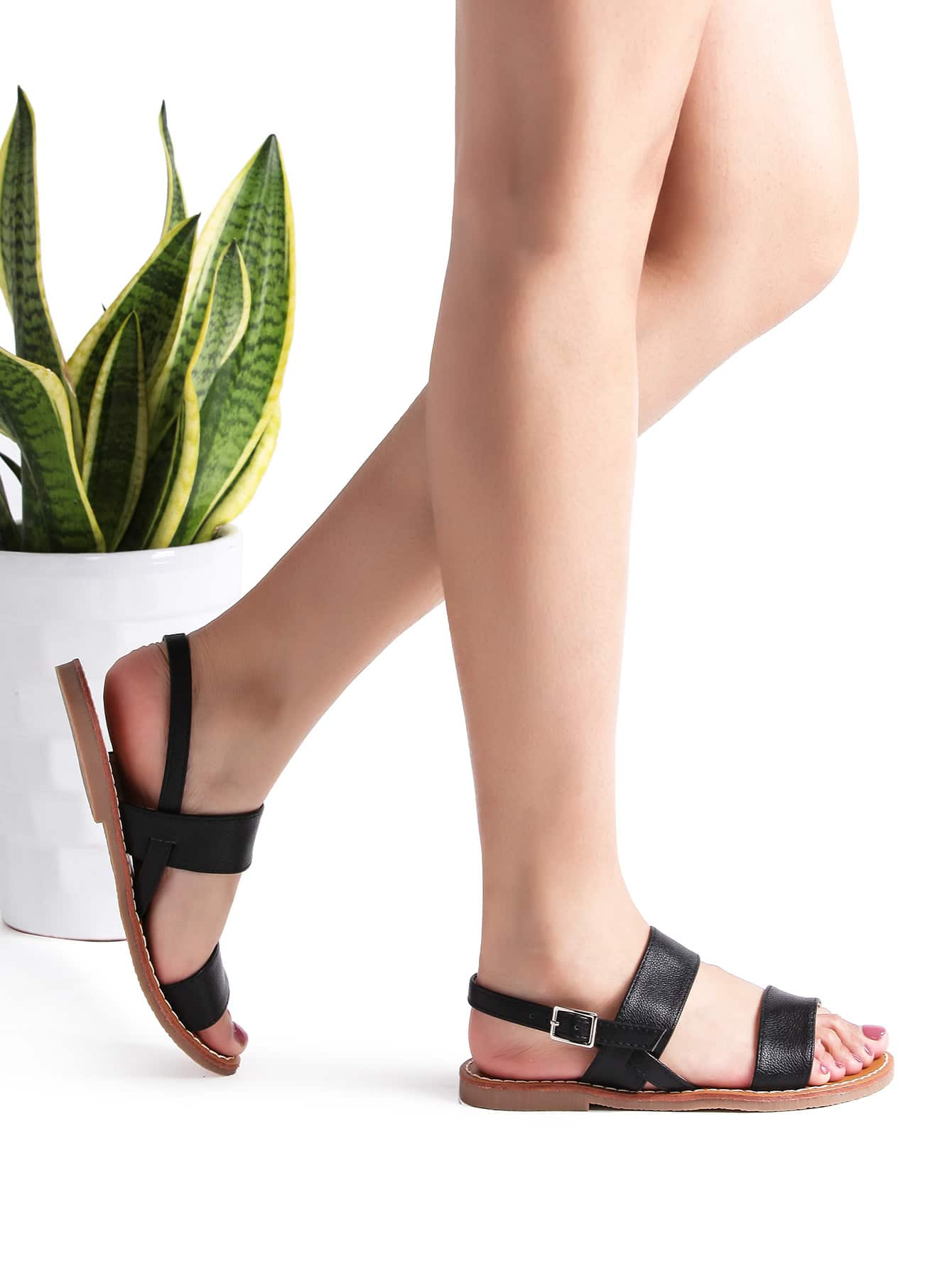 Image of Black Strappy Casual Flat Sandals