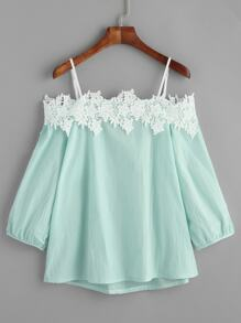 Light Green Cold Shoulder Applique Top